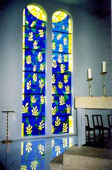 Window in chapel in Nice, France was designed by Matisse